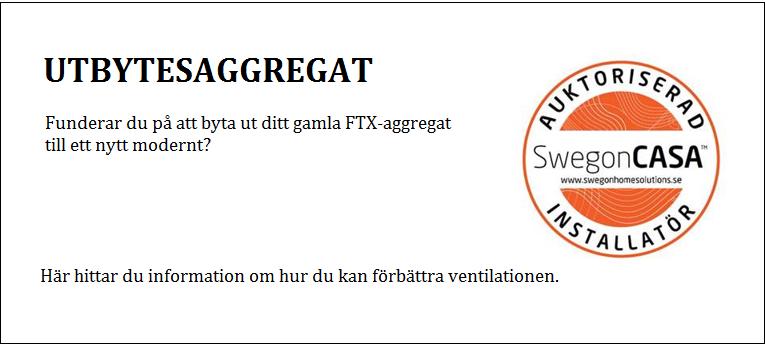 Ventilationsaggregat FTX - utbytesaggregat